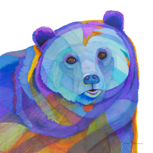 Black Bear in blues and purple .