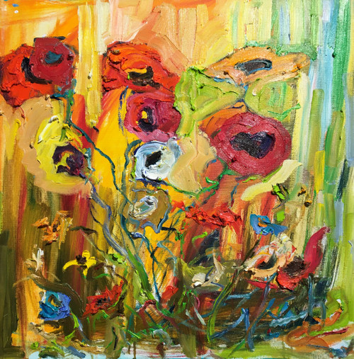 """Poppy Garden"" by Dawn Normali 20x20"