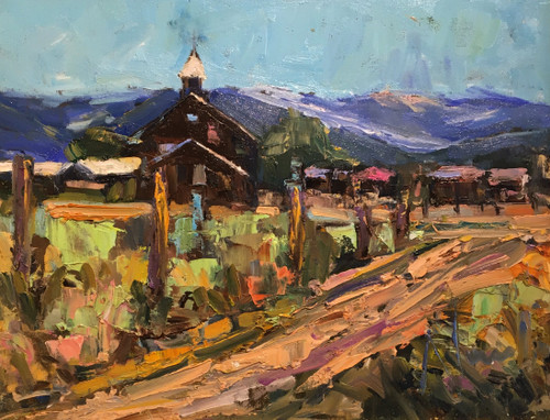 """""""Mountain Mission on the Hill"""" by Dawn Normali 12x16"""