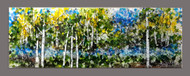 "'Into the Woods' wall art by Kathi D. Dougherty creates an impressionistic scene of Aspen trees along a forest stream. The piece is created with multiple types of glass starting with hand smashed fusible sheet glass, irid glass, dichroic and frit, placed in layers to create depth and texture in this 36"" x 12"" wall piece. The closer you stand to the artwork the more you see all the individual glass bits that create the scene."