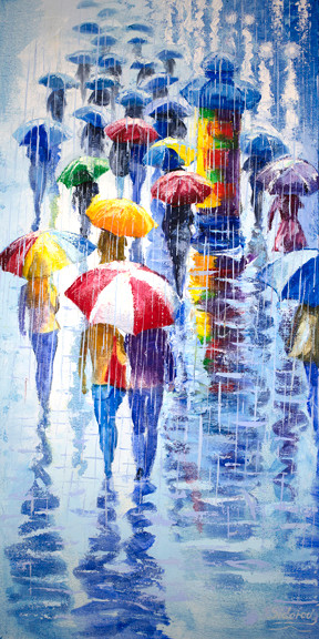 """""""Rainy Street"""" is an original oil painting on canvas by local Denver artist Stanislav Sidorov. This piece measures 24x12"""" and is featured on a gallery wrapped canvas."""