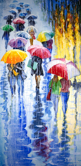 """Under the Rain"" is an original oil painting on canvas by local Denver artist Stanislav Sidorov. This piece measures 24x12"" and is featured on a gallery wrapped canvas."