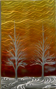 """Winter Solstice in Orange and Red by Michael J. Krob.  This wall piece is created entirely by hand from raw steel. The dimensions are approximately 34""""W x 22""""H. Even though the artist follows the same style of creation, each new fabrication will be a one of a kind. COLOR TREATED."""