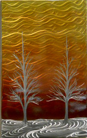 "Winter Solstice in Orange and Red by Michael J. Krob.  This wall piece is created entirely by hand from raw steel. The dimensions are approximately 34""W x 22""H. Even though the artist follows the same style of creation, each new fabrication will be a one of a kind. COLOR TREATED."
