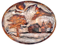 "2D Mountain Cabin Oval by Michael J. Krob.  30""W x 20""H. Even though the artist follows the same style of creation, each new fabrication will be a one of a kind."