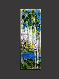"In the 'Hope of Spring' wall piece by Kathi D. Dougherty you discover a hidden pool in the middle of the Aspen grove.  10"" x 30""."