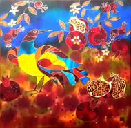 'Fairy Tale Birds & Pomegranates' by Yelena Sidorova 20x20