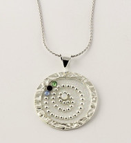 """Hammered Circle with Crystals Necklace"" Each piece is made with sterling silver and accented with hand painted enamel designs"