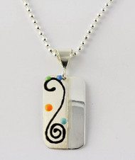 """Two Tone Rectangle Pendant with Black Swirl"" Each piece is made with sterling silver and accented with hand painted enamel designs on a 16 Inch Bead Chain."