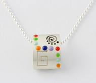 """3-D Rectangle Miro Pendant with Colorful Geometric Designs"" Each piece is made with sterling silver and accented with hand painted enamel designs on a 16 Inch Bead Chain."