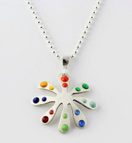 """Tiny Flower Pendant with Primary and Jewel Dots"" Each piece is made with sterling silver and accented with hand painted enamel designs on a 16 Inch Bead Chain."