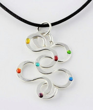 """""""Interlocking S Pendant"""" by Ann Carol Jewelry based in Boundbrook, NJ. Each piece is made with sterling silver and accented with hand painted enamel designs on a 16 Inch-18 Inch/Waxed Cotton Cord."""
