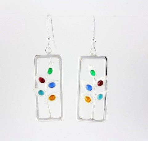"""Earrings Rectangle Drop with Twig"" by Ann Carol Jewelry based in Boundbrook, NJ. Each piece is made with sterling silver and accented with hand painted enamel designs."