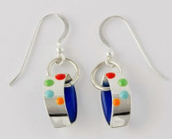 """""""Earrings Ribbon Drop"""" by Ann Carol Jewelry based in Boundbrook, NJ. Each piece is made with sterling silver and accented with hand painted enamel designs."""