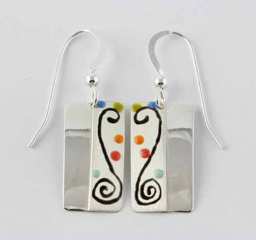 """""""Earrings Two Tone Rectangle Drop"""" by Ann Carol Jewelry based in Boundbrook, NJ. Each piece is made with sterling silver and accented with hand painted enamel designs."""