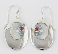 """""""Earrings Oval Cutout W/ Crystal Opal"""" by Ann Carol Jewelry based in Boundbrook, NJ. Each piece is made with sterling silver and accented with hand painted enamel designs."""