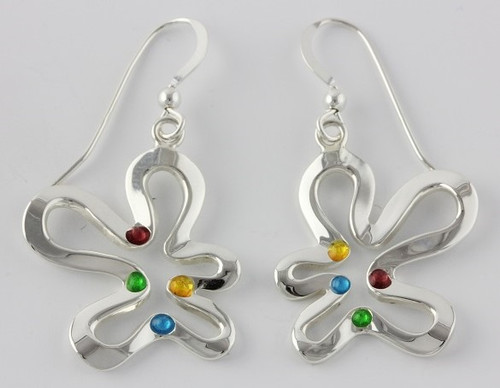 """Earrings Ameoba Drop"" Each piece is made with sterling silver and accented with hand painted enamel designs."