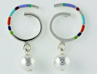 """""""Earrings Swirl Earring on Posts with 8mm Bead Drop"""" by Ann Carol Jewelry based in Boundbrook, NJ. Each piece is made with sterling silver and accented with hand painted enamel designs."""