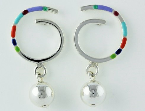 """Earrings Swirl Earring on Posts with 8mm Bead Drop"" by Ann Carol Jewelry based in Boundbrook, NJ. Each piece is made with sterling silver and accented with hand painted enamel designs."