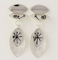 """""""Earrings Multi Leaf Earrings on Posts"""" by Ann Carol Jewelry based in Boundbrook, NJ. Each piece is made with sterling silver and accented with hand painted enamel designs."""