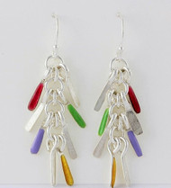 """""""Earrings Tiny Sticks Drop """" by Ann Carol Jewelry based in Boundbrook, NJ. Each piece is made with sterling silver and accented with hand painted enamel designs."""