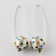 """Earrings Ball Drop w/ Dots"" by Ann Carol Jewelry based in Boundbrook, NJ. Each piece is made with sterling silver and accented with hand painted enamel designs."