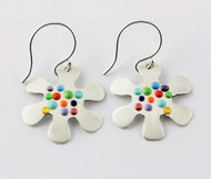 """Earrings Little Flower Drop"" by Ann Carol Jewelry based in Boundbrook, NJ. Each piece is made with sterling silver and accented with hand painted enamel designs."