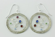 """""""Earrings See Through Hammered Circle Drop"""" by Ann Carol Jewelry based in Boundbrook, NJ. Each piece is made with sterling silver and accented with hand painted enamel designs."""
