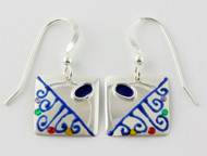 """""""Earrings Two Tone Square Drop"""" by Ann Carol Jewelry based in Boundbrook, NJ. Each piece is made with sterling silver and accented with hand painted enamel designs."""