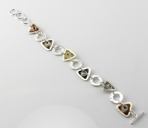 """""""Bracelet Circle & Triangle Link/ Swarovski Crystals/Neutral Bead Inlay"""" by Ann Carol Jewelry based in Boundbrook, NJ. Each piece is made with sterling silver and accented with hand painted enamel designs, 7 Inch Length/ Toggle Clasp."""
