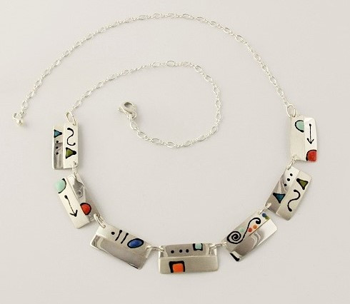 """""""Two Tone Rectangles Link Necklace"""" by Ann Carol Jewelry based in Boundbrook, NJ. Each piece is made with sterling silver and accented with hand painted enamel designs, with black geometric lines/Adjustable to 18 Inch/Firgure 8 Chain."""