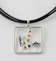 """Twig & Leaf Pendant Necklace"" by Ann Carol Jewelry based in Boundbrook, NJ. Each piece is made with sterling silver and accented with hand painted enamel designs, with Primary Colors/ 1 1/4 Inches Long/ Waxed Cotton Cord/ Adjustable to 18 Inches."