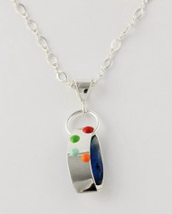"""Ribbon Pendant"" from Ann Carol Designs. Each piece is made with sterling silver and accented with hand painted enamel designs, with Primary Colors, 1 Inch Long/ 16 Inch Figure Eight Chain"