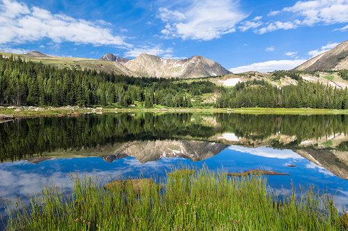 """Calm Morning on Lost Lake"" Photograph by Colorado photographer James Frank. This photograph was taken on a bright August morning at Lost Lake featuring Rowe Mountain in Rocky Mountain National Park, Colorado, USA."