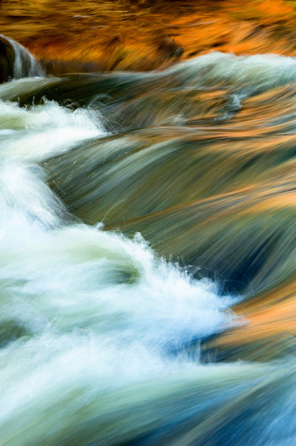 """""""River Symphony"""" Photograph by Colorado photographer James Frank. This photograph was taken as the last light of day reflected on the Big Thompson River, Estes Park, Colorado, USA."""