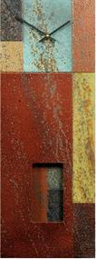 """Mondrian"" clock with pendulum by Robert Rickard. This clock is displayed in Robert's ""Berry"" color story, the clock's pendulum swings through the bottom cutout design."