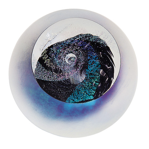"""Black Hole"" glass paperweight handmade by Glass Eye Studio."
