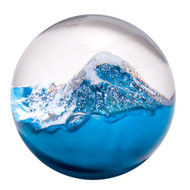 """Glacier"" glass paperweight handmade by Glass Eye Studio."
