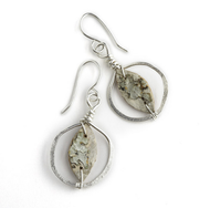 "CAW4 Calder Hammered Silver Earrings by Tessoro Jewelry, natural birchbark, hand hammered sterling silver, sterling silver ear wires, 1 1/4"" x 3/4""."