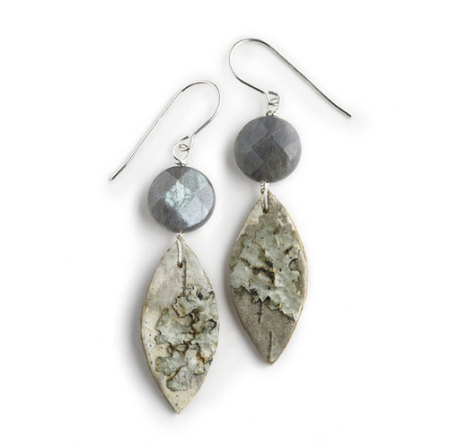 "CAW7 Calder Labradorite and Green Moss Earrings by Tessoro Jewelry, natural birchbark, labradorite, sterling silver ear wires, 2"" x 1/2"""