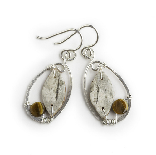 "CAW5 Calder Oval Tiger Eye Earrings by Tessoro Jewelry, natural birchbark, hand hammered sterling silver and tiger eye, sterlign silver ear wires, 1 3/8"" x 3/4""."
