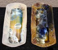 "This Butter Dish is made by Campbell Pottery. It is 7 1/4"" long. It is available in Cream/Green/Blue or New Glaze  Dark & Light Stellar glaze. Each porcelain form is hand glazed and crystals grow in the firing process so colors and patterns will vary. Please call for current photos of on-hand pieces. (970) 586-2151"