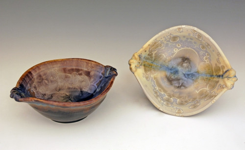 "This Breakfast Bowl is handmade by Bill Campbell based in Cambridge Springs, PA. The bowl is 7 1/2"" and holds 1 1/2 cups it is shown both glazes. We offer two different Stellar glazes Cream/Green/Blue and Gold/Cobalt. All of his porcelain is functional; microwave, oven, dishwasher safe."