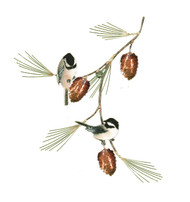 Two Chickadees with Pine Bough by Bovano of Cheshire Metal