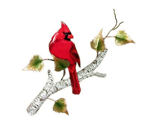 Cardinal On Birch by Bovano of Cheshire Metal
