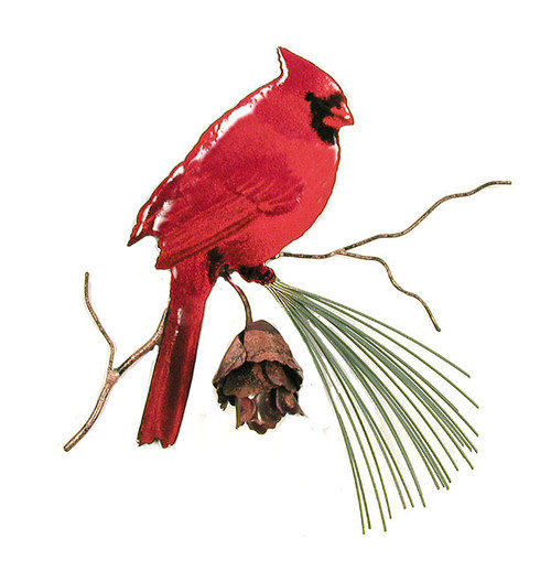 Cardinal with 3D pine cone by Bovano of Cheshire Metal