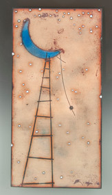 """To The Moon & Back"" by Jenn Bell 6x12 glass on copper tile"