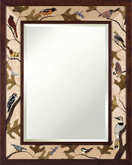 """""""Songs of Nature"""" Mirror by Jeff Nelson, Wood Marquetry, Large boarder 32x40."""
