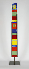"Small Standing Totem in Black and White by Hands On Art Glass. 3""x27"", fused glass in a grey metal stand. Please call our galleries to see which pieces are currently on hand."