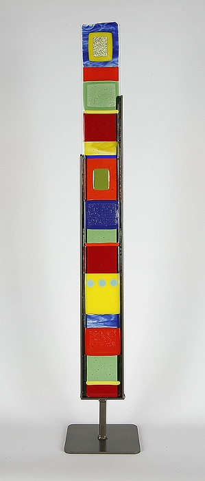 """Small Standing Totem in Black and White by Hands On Art Glass. 3""""x27"""", fused glass in a grey metal stand. Please call our galleries to see which pieces are currently on hand."""